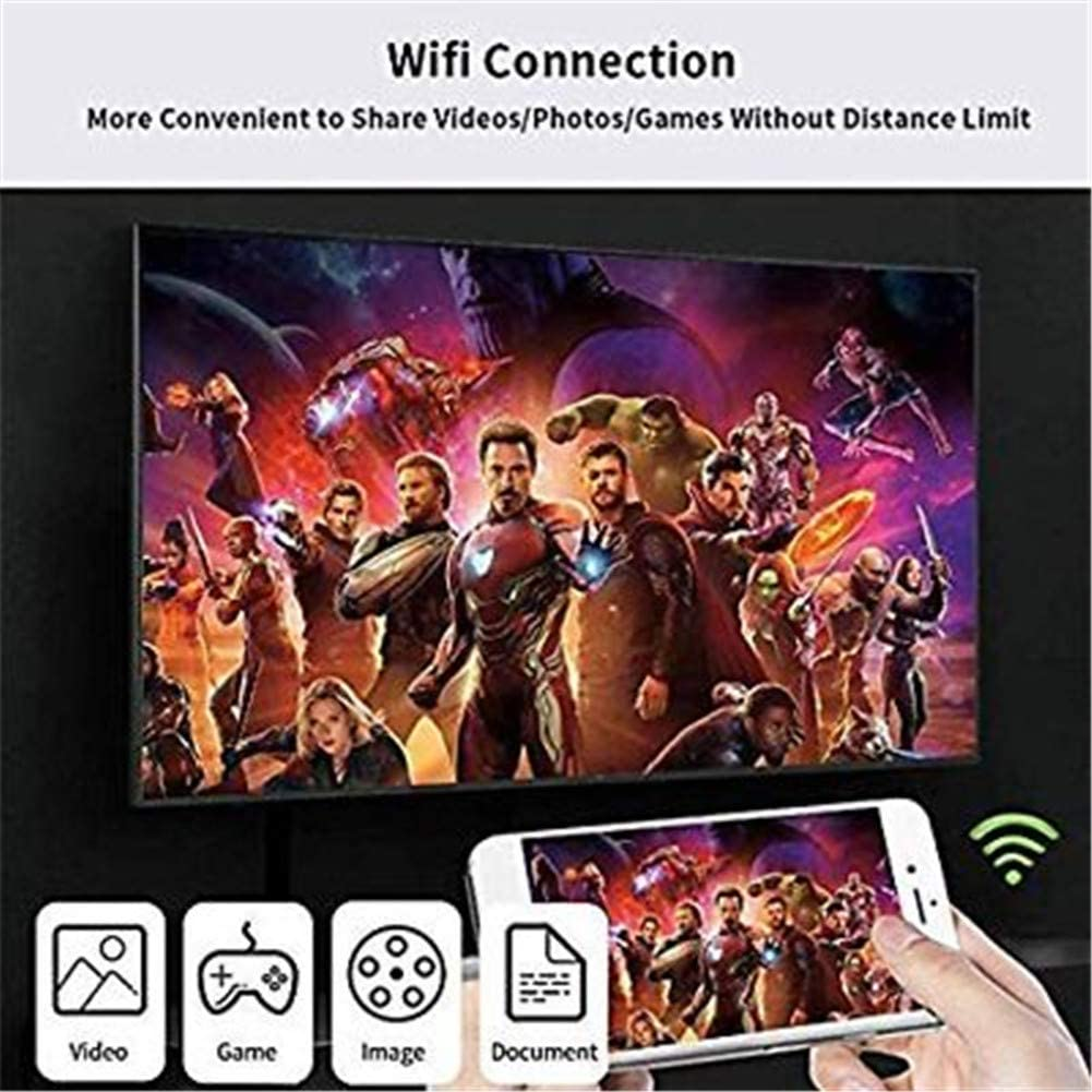Negro 1080P AV MHL HDTV Conector Bambud WiFi Wireless Display Dongle para iOS//Micro USB//Tipo C Tel/éfono Tablet a TV//Proyector//Monitor SAIZHUO Compatible con iPhone iPad Android USB a HDMI Cable