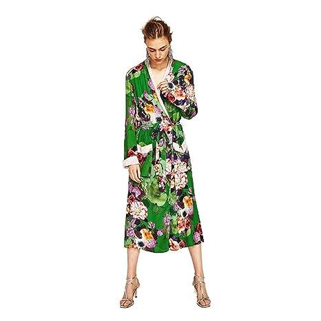 LiXiZhong Traje del Kimono Largo Impreso Loungewear Traje ...