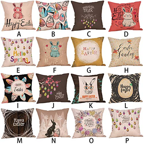 Nice Happy Easter Eggs Rabbit Linen Cushion Cover Decorative Pillows Cover For Sofa Seat Soft Throw Pillow Case 45x45cm Home Decor Home Textile