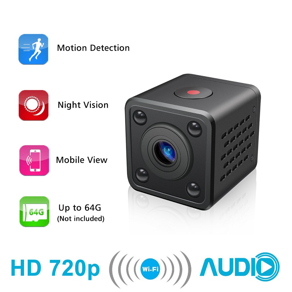 Mini cámara WiFi - Bysameyee Cámara espía inalámbrica Oculta con detección de Movimiento Almacenamiento en la Nube con visión Nocturna, grabadora de Video ...