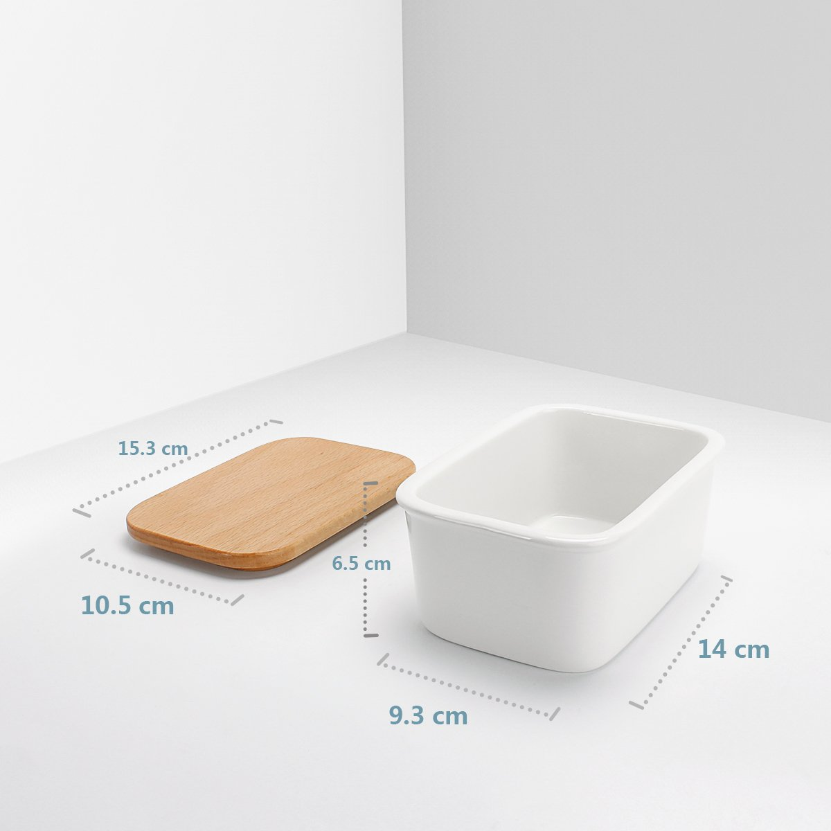 White Sweese 301.101 Butter Dish Porcelain Butter Container with Beech Wooden Lid