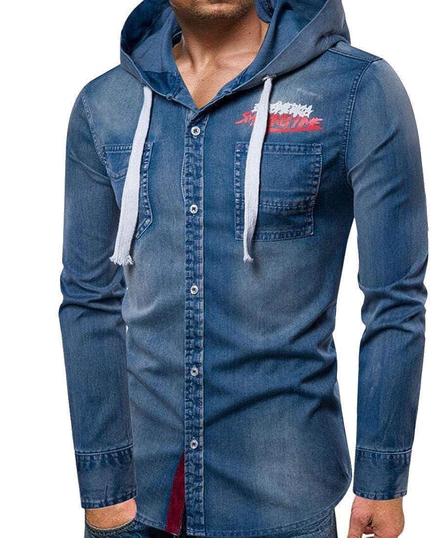 YYear Men Cotton Drawstring Denim Button Up Casual Hooded Shirts