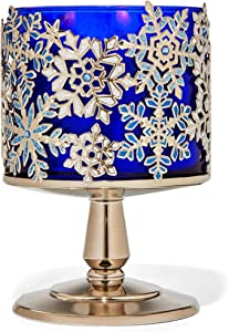 Bath and Body Works White Barn 3 Wick Candle Sleeve Holder Jeweled Snowflake Pedestal Silver White and Blue Candle Sold Separate