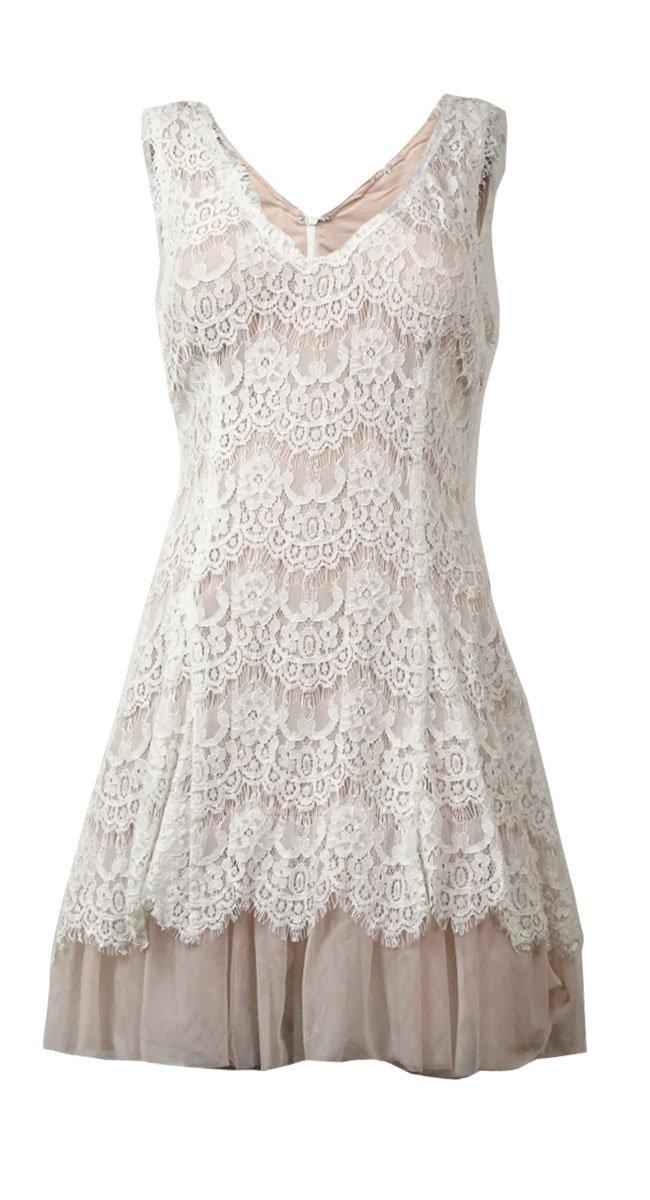 Betsy & Adam Women's V-Neck Lace Tulle-Hem Dress (12, Ivory/Blush)