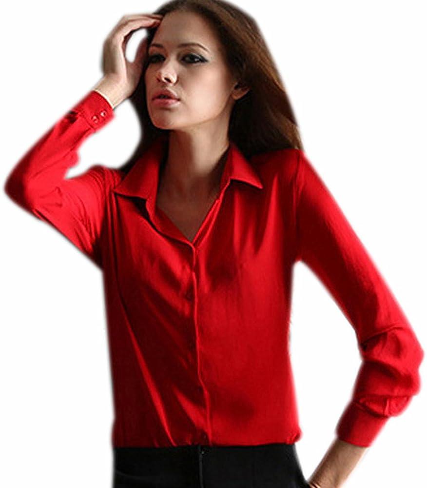 Fuxiang Blusas Mujer Gasa Camisetas Camisas Manga Larga Blusa Camisa Cuello V Shirt Casual Camiseta Top Señoras T Shirt Color Puro T-Shirt con Botón Rojo M: Amazon.es: Ropa y accesorios