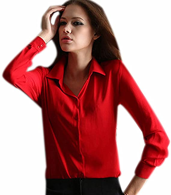 2967b7b0 Fuxiang Blusas Mujer Gasa Camisetas Camisas Manga Larga Blusa Camisa Cuello  V Shirt Casual Camiseta Top Señoras T Shirt Color Puro T-Shirt con Botón  Rojo M: ...