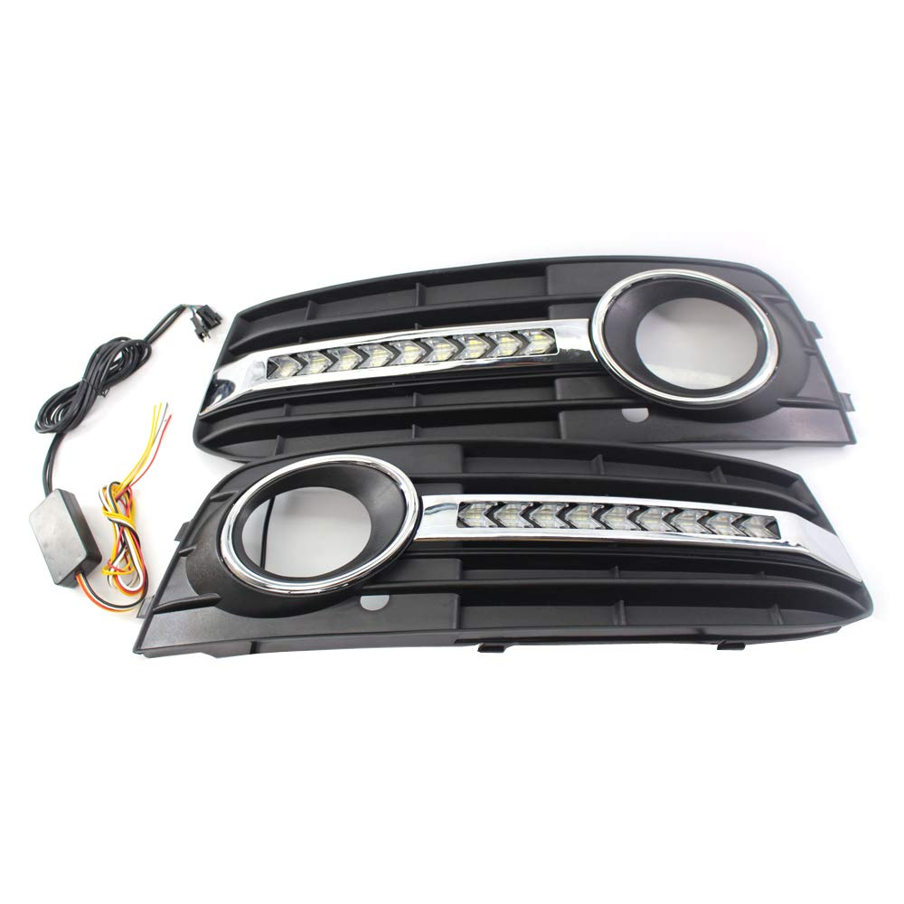 VISLONE Grilles avant pour antibrouillards avec grille de protection en treillis Remonter avec feux de jour /à LED Pare-chocs avant Fit pour Au-di A4 B8 09-11 Grille en nid dabeille