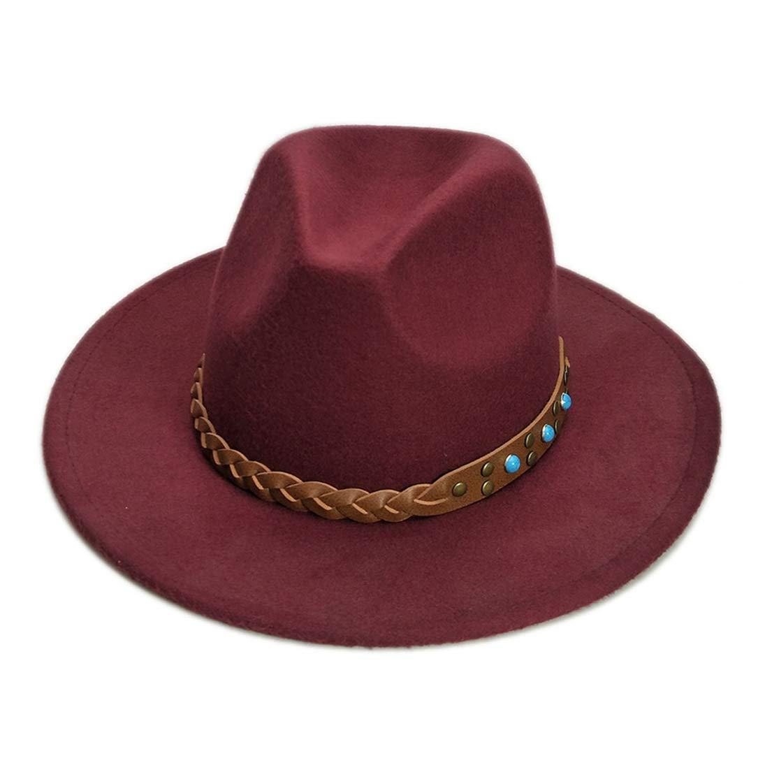 Wool Felt Fedora Hats for Men Unisex Classic Wide Brim Trilby Gangster Panama Jazz Hat with Brown Belt