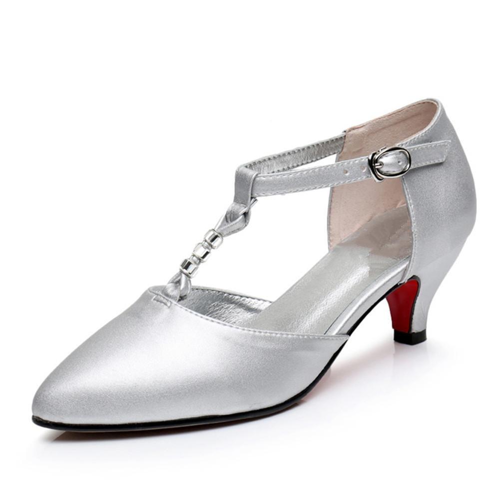 Argent Chaussures pour femmes Cuir extérieur Latin Taogo Danse en caoutchouc Sandales Pompes Taille 36To40 EU39
