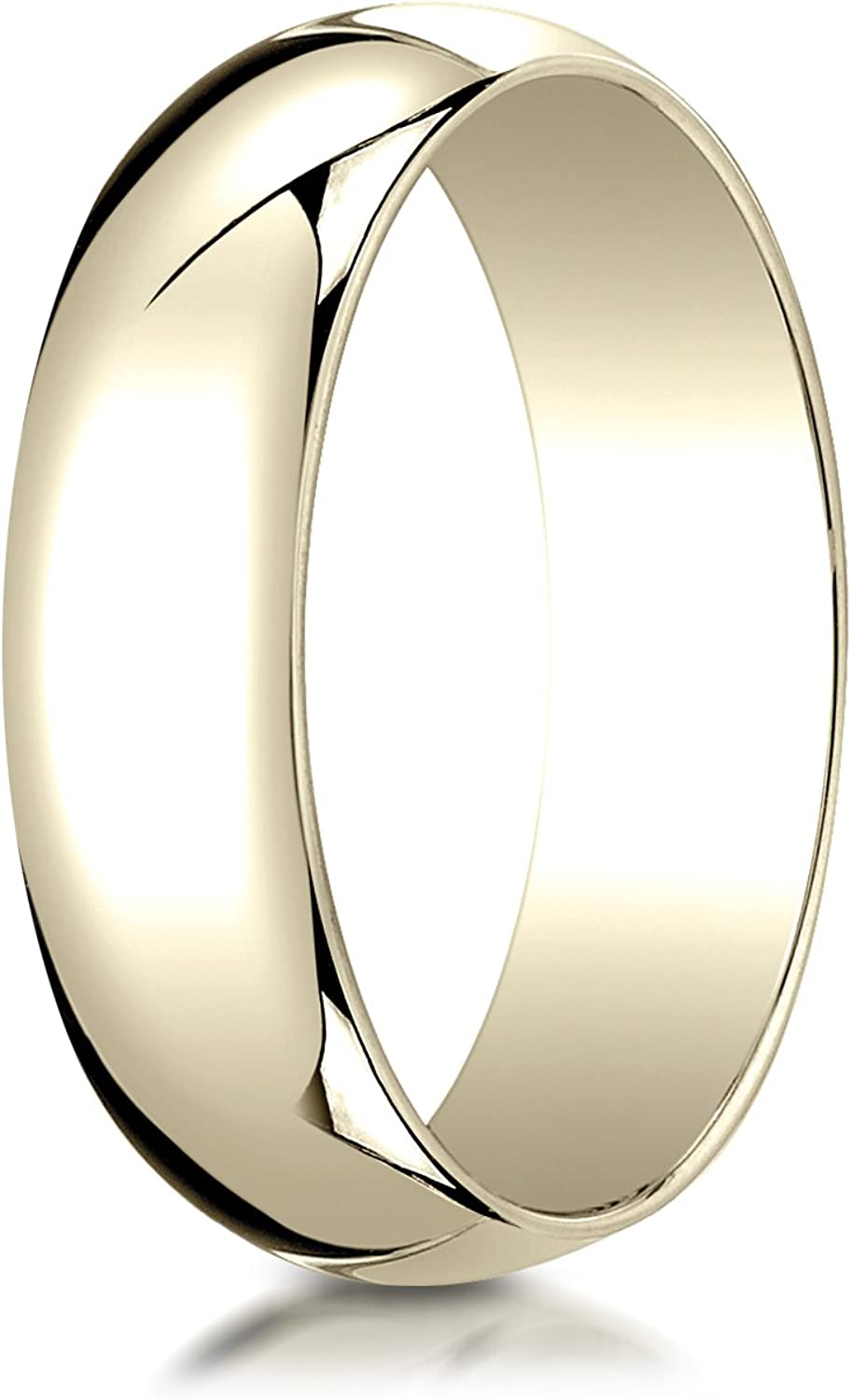 PriceRock 10K Yellow Gold 6mm Slightly Domed Traditional Oval Wedding Band Ring for Men /& Women Size 4 to 15