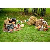 OFILA 7x5ft Photography Background Autumn Backdrop Pumpkins Fruits Harvest Straw Bale Flags Grass Land Fallen Leaves Children Baby Kids Portraits Photos Photographic Video Studio Props