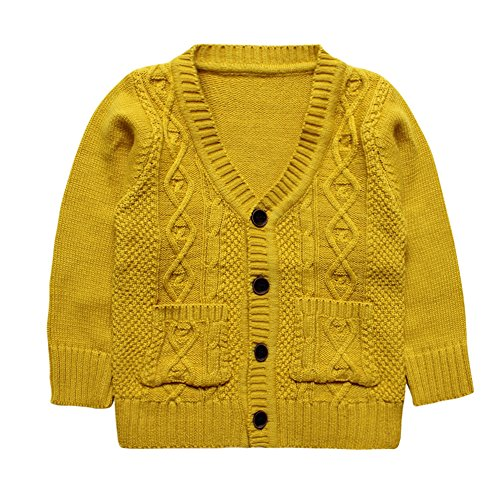 eTree Little Boys' 100% Cotton Cardigan Hemp Flowers Sweater Size 24M (Yellow Kids Sweater)