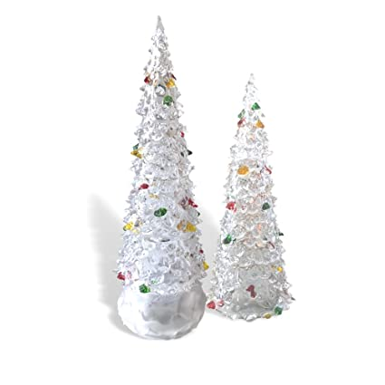 acrylic light up christmas trees set of 2 assorted sized led trees color changing