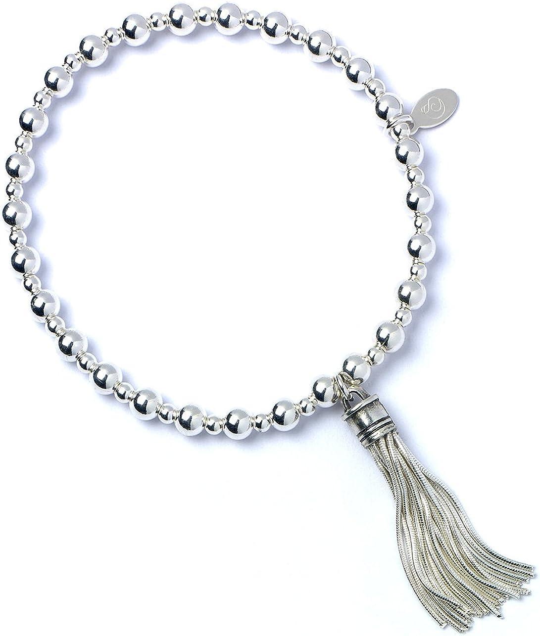 bumble beads Pulsera de bolas de plata de ley con borla mediana