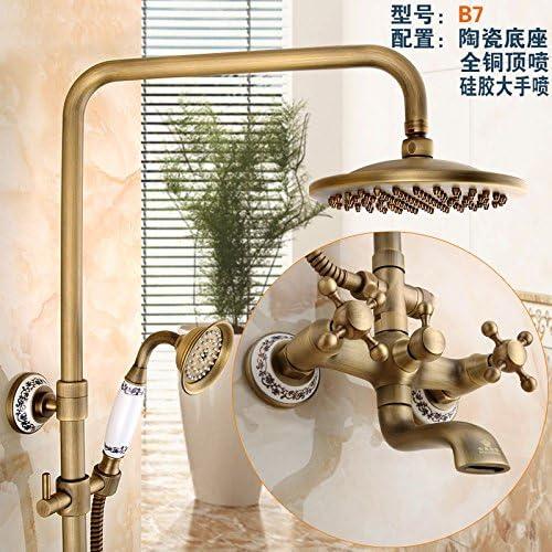 GFEI Baño, cobre, titanio, antiguo patrón, pintura de ducha, cabeza de ducha, ducha conjunto,B7: Amazon.es: Hogar