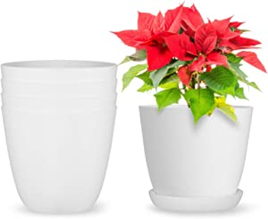 Akarden 5 Pack 6.5'' Plastic Planters with Saucers, Gardening Pot with Drainage for All Home Plants