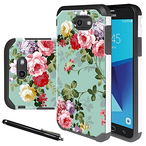 Galaxy J7 V Case, Galaxy J7 Perx Case, Linkertech [Shock Absorption] Heavy Duty Defender Dual Layer Protector Hybrid Case for Samsung Galaxy J7 2017 / Galaxy J7 Sky Pro / Galaxy HALO (Peony)