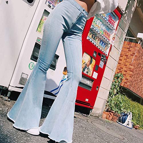 Skinny Da Azzurro Alta Con A Bassa Hellomiko Vita Donna Svasati Pantaloni 5OUFgF