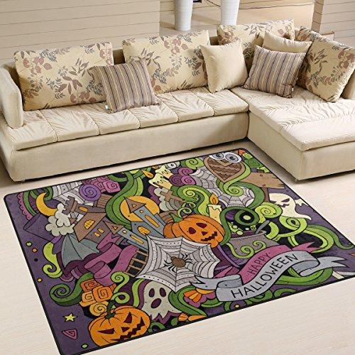 7' Halloween Pumpkin Bucket - Halloween Pumpkin Ghost Playmat Floor Mat For Dining Room Living Room Bedroom, 7'x5'