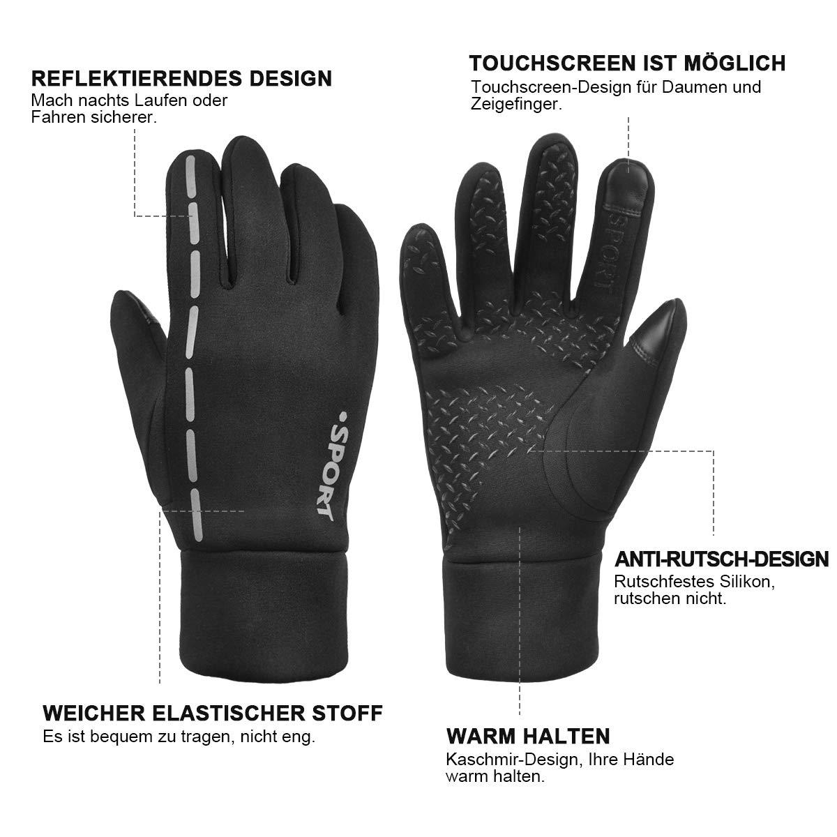 Fahrradhandschuhe Winter, Warm Touchscreen Handschuhe LaufenHandschuhe mit Reflexstreifen Rutschfest Winddicht für Damen Herren Sport Outdoor Wandern (Schwarz, M)