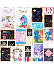 monochef Rainbow Unicorn Scratch Art Set, 136 Pcs Include Doodle Notes with Wooden Stylus, Drawing Template and Clip, Cords