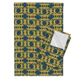 Gold Solar Fluid Waving Float Energetic Fluttering Tea Towels Liquid_Grid_Gold by Chicca Besso Set of 2 Linen Cotton Tea Towels