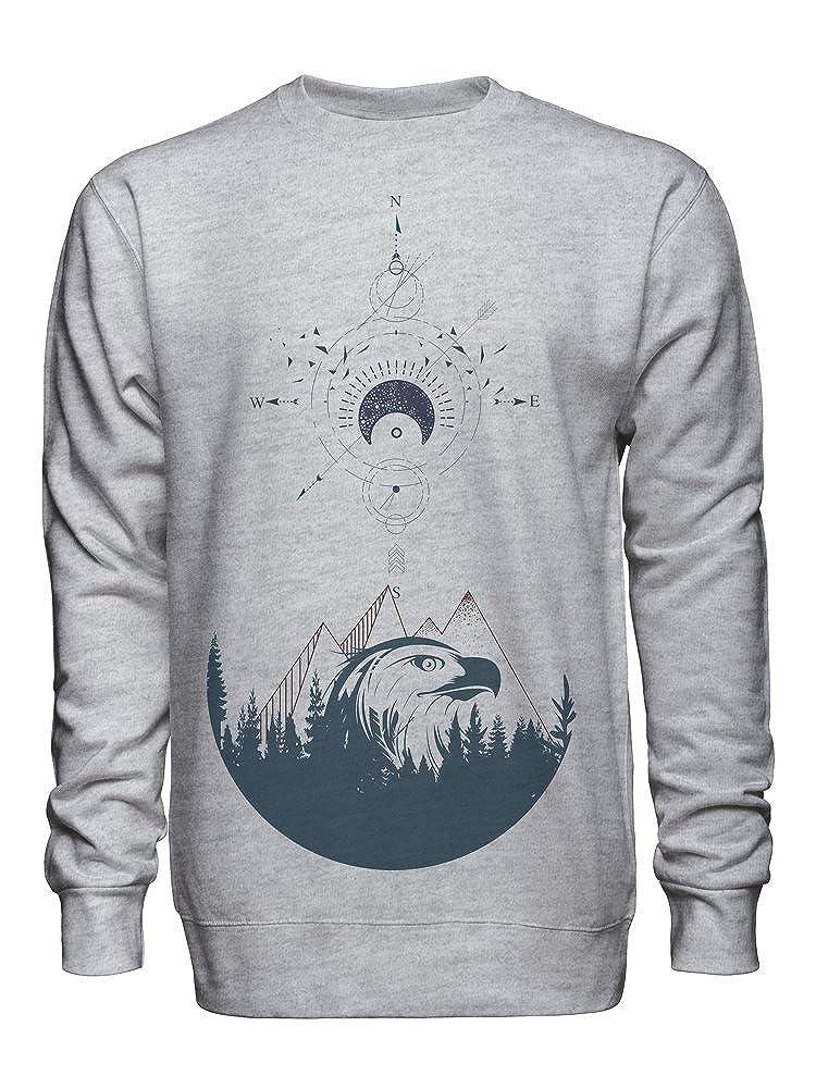 Drawing of Hipster Compass Unisex Crew Neck Sweatshirt