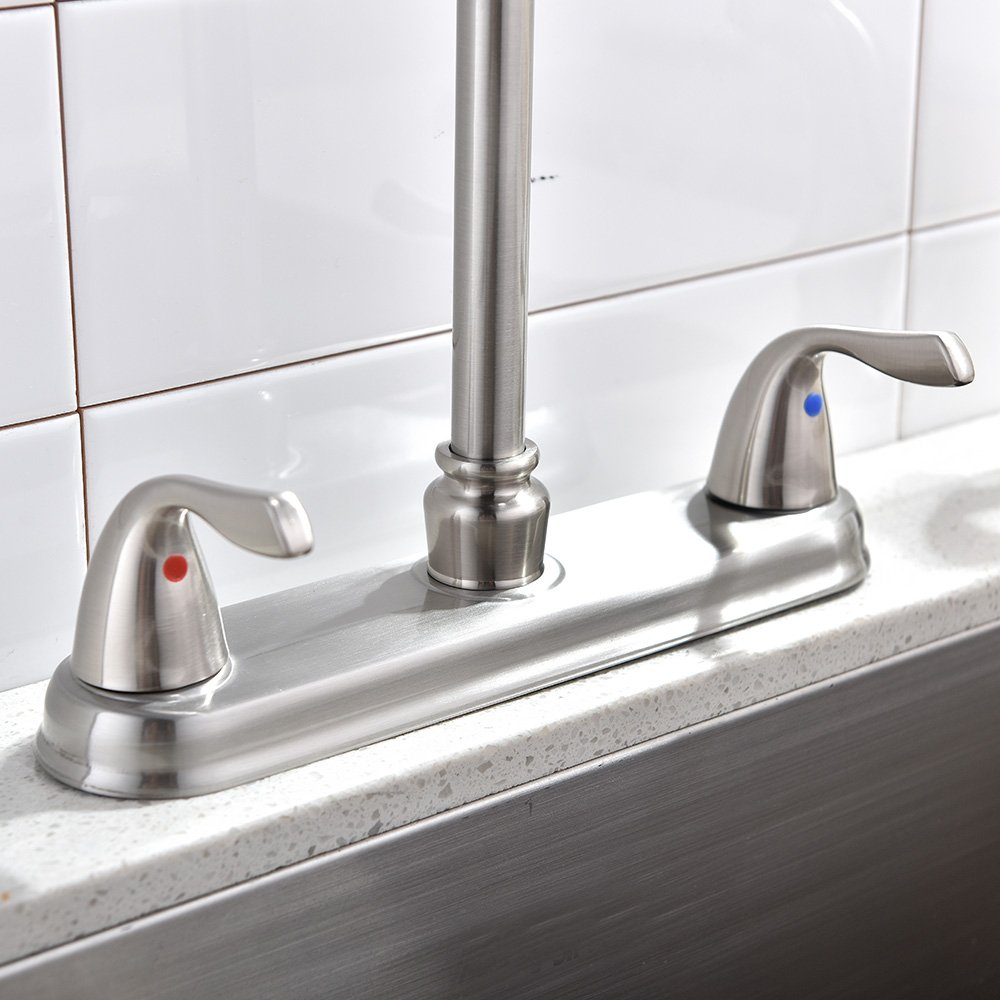 Shaco Modern Stainless Steel High Arc Swivel Spout 2 Handle With ...