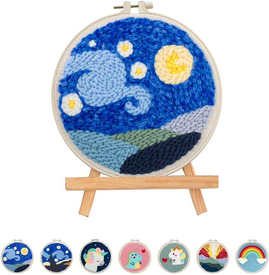 Flower Punch Needle Starter Kits Punch Needle Tool DIY Rug Punch Beginners Kit with an Adjustable Punch Needle Embroidery Frame Rainbow Animal Lighthouse Landscape Figure by Sixpi