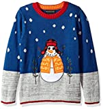 Blizzard Bay Big Boys' Snowman With Hat Xmas Sweater, Blue Combo, 8/10 S