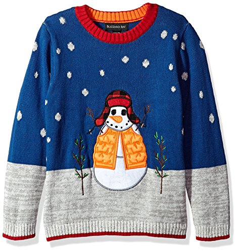 Blizzard Bay Big Boys' Snowman with Hat Xmas Sweater, Blue Combo, 12/14 M by Blizzard Bay (Image #1)