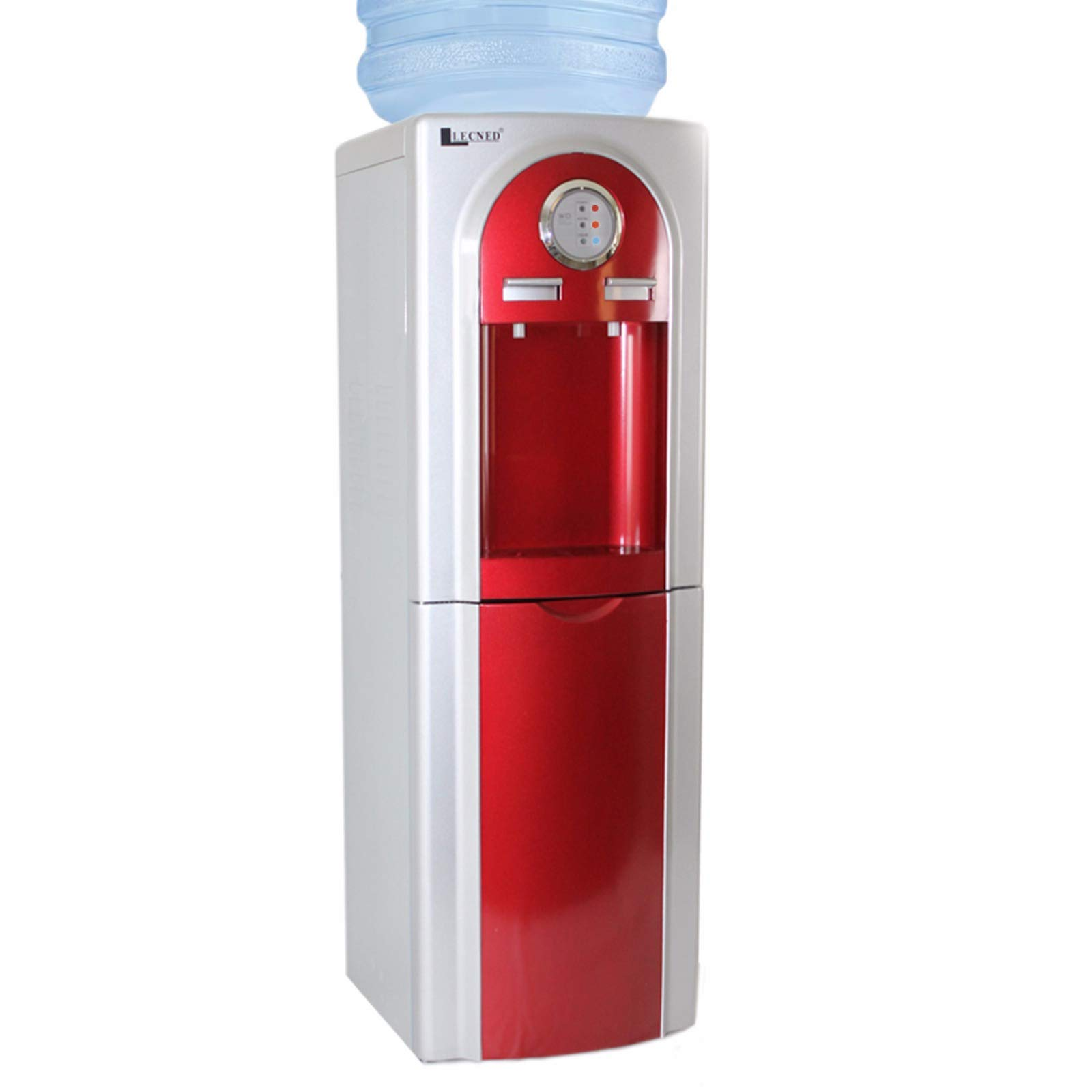 Water Dispenser Llecned RED Top Load Hot/Cold Deluxe Stainless Steel w/compact storage by LLECNED