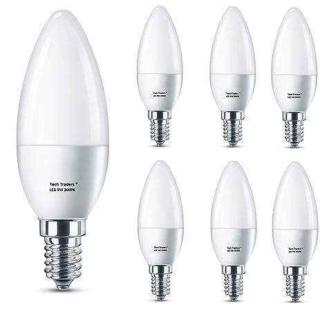 Bombilla LED E14, rosca Edison pequeña para vela, Tech Traders C37 E14, luz blanca cálida, ...