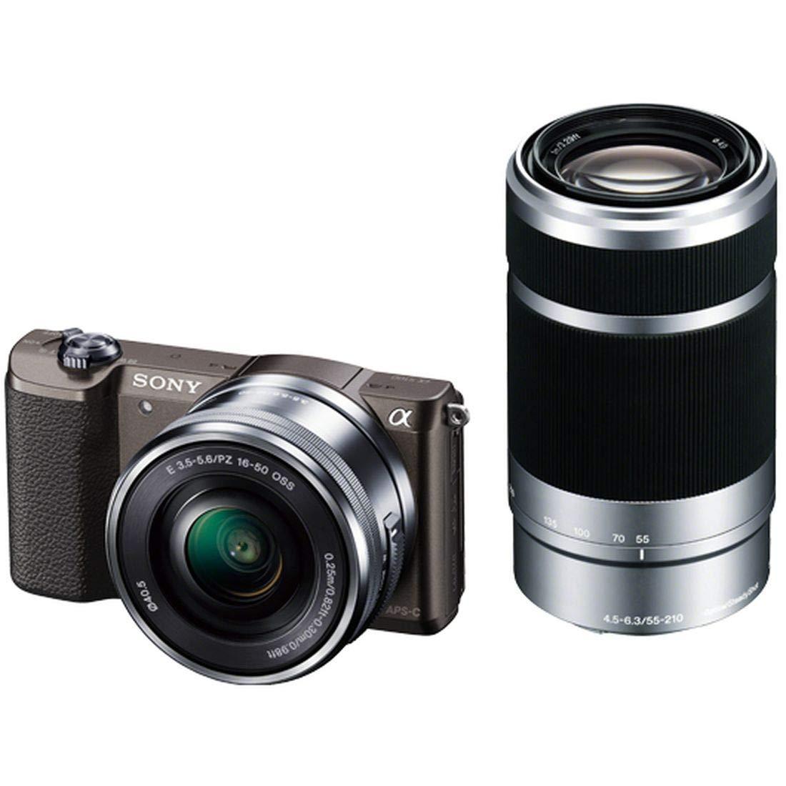 ソニー SONY ミラーレス一眼 α5100 ダブルズームキット E PZ 16-50mm F3.5-5.6 OSS + E 55-210mm F4.5-6.3 OSS ブラウン ILCE-5100Y-T  ブラウン B00MUFZDMS