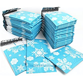 SES.CO 4x8-Inch Small Blue Snowflake Poly Thank You Bubble Mailers,Self Sealing Padded Mailing Envelopes,Christmas Gift Packing(50 Pack)