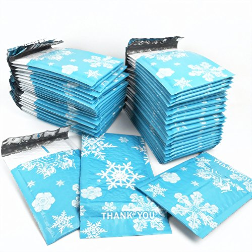 Blue Snowflake Bubble polymailers