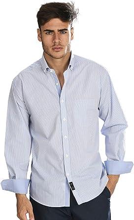 Camisa Manga Larga con Rayas Finas de Color Azul Celeste y Blanco para Hombre: Amazon.es: Ropa y accesorios
