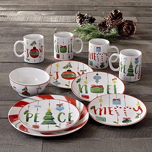 American Atelier Holiday Dinnerware Set – 16-Piece Christmas-Themed Stoneware Dinner Party Collection w/ 4 Dinner Plates…