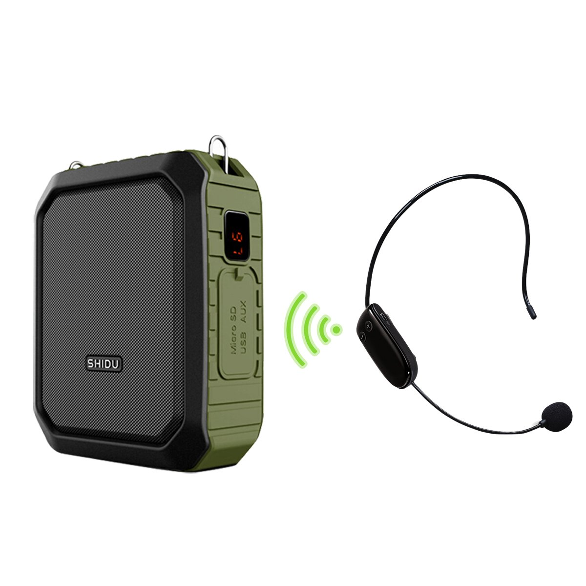 Voice Amplifier 18W Wireless Pa System with Microphone Headset Rugged Portable Bluetooth Speaker Waterproof Personal Microphone Amplifier Built-In 4400mAh Power Bank for Outdoors, Large Groups SHIDU wireless voice amplifier