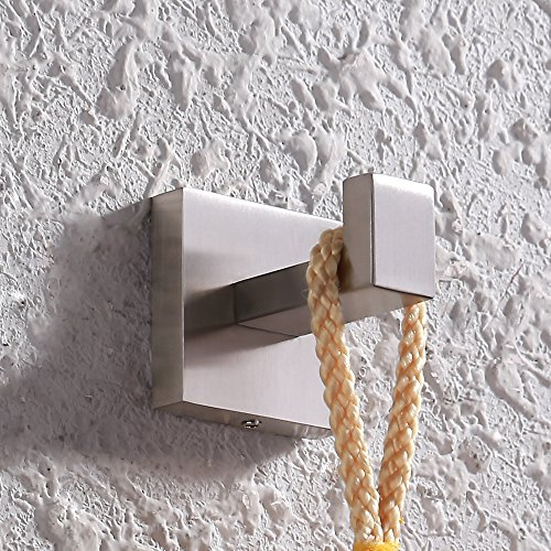 Kes Coat Hook Single Towel/Robe Clothes Hook for Bath Kitchen Garage Heavy Duty Contemporary Hotel Style Wall Mounted, Brushed SUS 304 Stainless Steel, (Modern Brushed Nickel Bath)