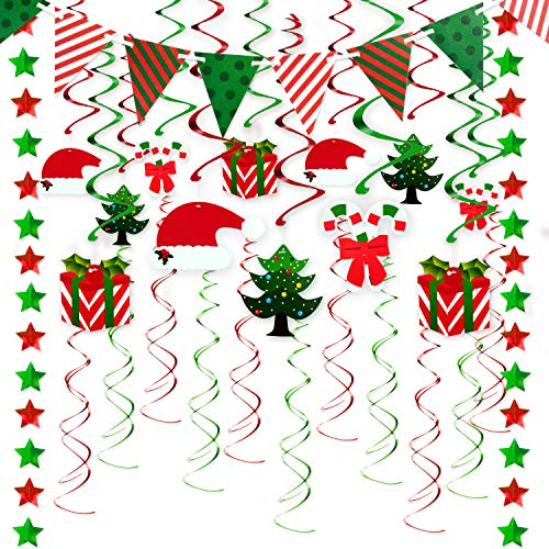 (33 PCS Christmas Swirls Garland Foil Hanging Ceiling Decoration for Christmas Party Supplies Winter Wonderland Holiday Party Supplies with Christmas Gift & Tree & hat)
