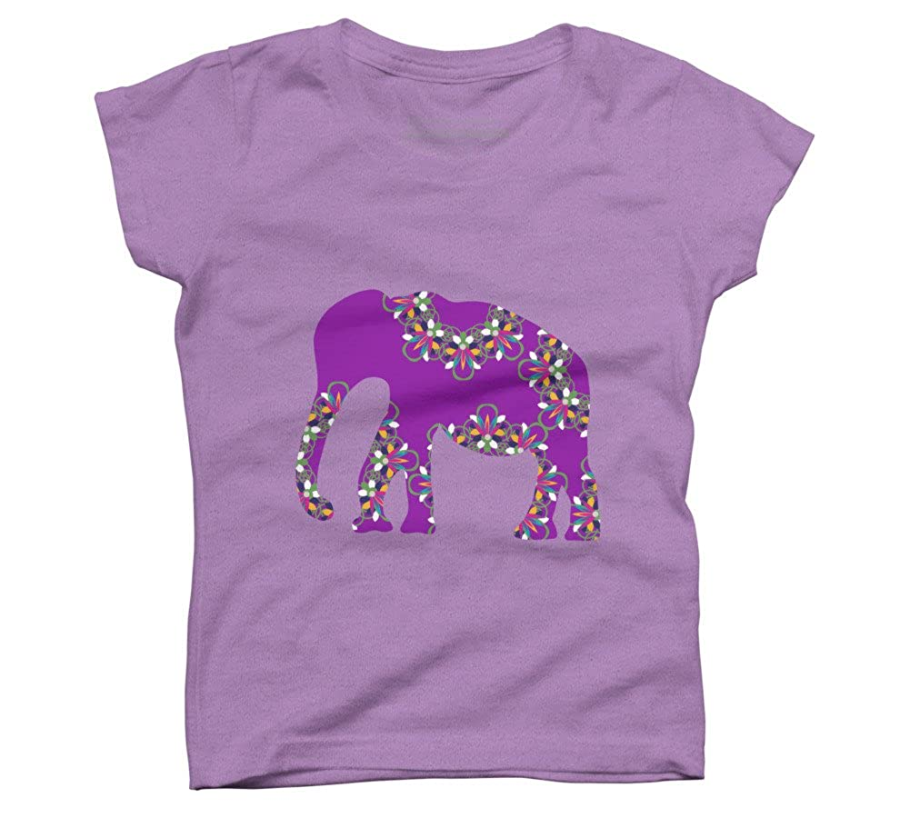 Design By Humans Elephant silhouette Girls Youth Graphic T Shirt