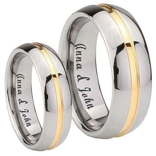 Libre grabado 8 mm/5 mm tungsteno de su su 14 K oro IP acanalado par juego de anillos de boda tamaño 4 A 14: Amazon.es: Joyería