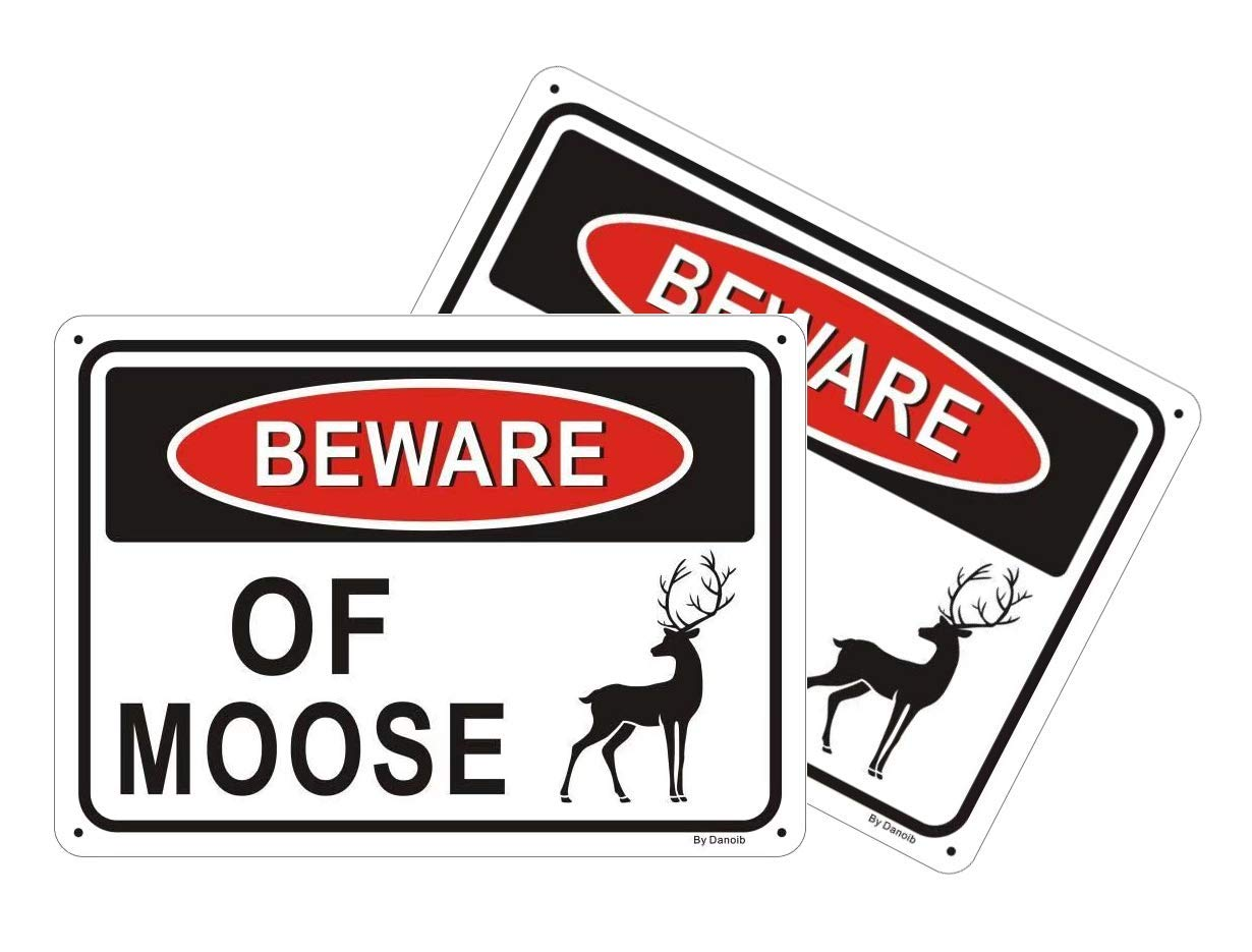 "2-Pack Beware of Moose Warning Signs 10""x7"" Metal Aluminum Weather/Fade Resistant Easy Mounting Outdoor Use"
