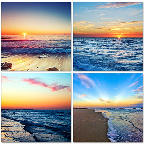 QICAI Beach Sunset Wall Art Giclee Canvas Sea Sunset Sunset Beach Wall Art  Ocean Canvas Prints Wave Canvas Stretched And Framed Pictures Paintings  Artwork ...