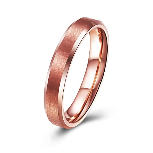d7be03aac AtomCat 4mm Rose Gold Plated Titanium Carbide Rings for Women Men Beveled  Edge Comfort Fit Halloween