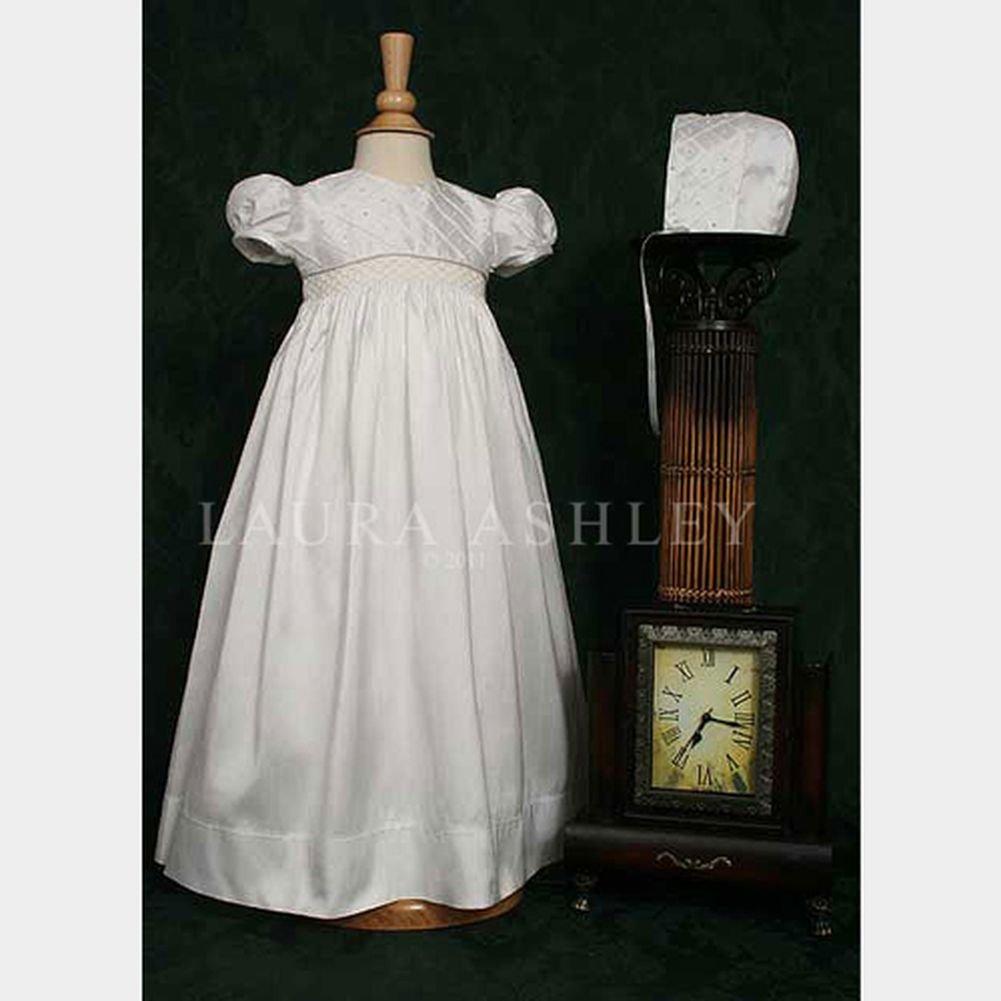 Baby Girls White Lattice Bodice Baptism Christening Gown Dress 3M