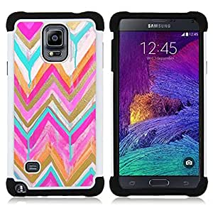 Jordan Colourful Shop - Chevron Gold Pink Watercolor Pattern For Samsung Galaxy Note 4 SM-N910 N910 - < Llevar protecci????n de goma del cuero cromado mate PC spigen > -