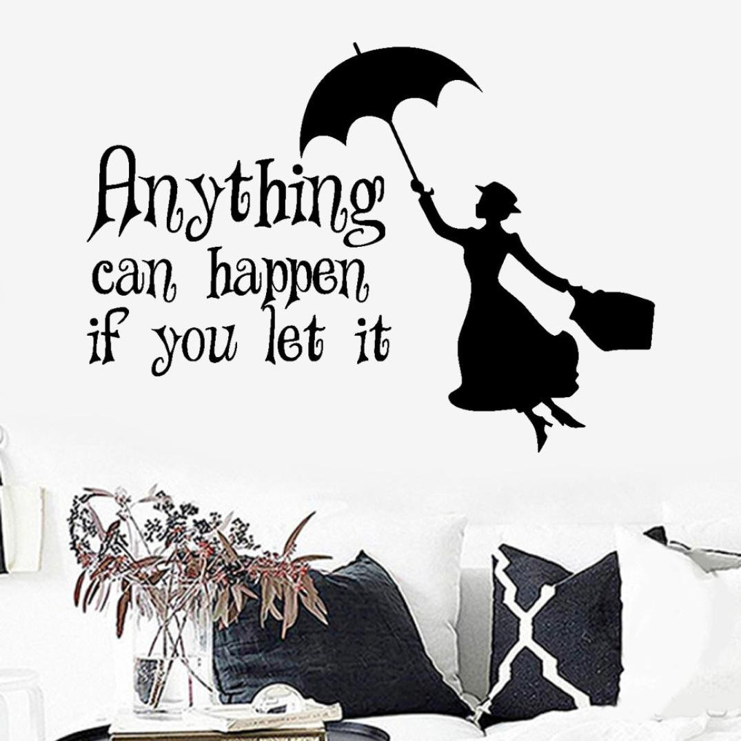Amazon.com : Rumas Anything Can Happen If You Let It Wall Stikcer Quote Inspirational, Peel and Stick Wallpaper, Home Decor for Baby Room Bedroom Bathroom, ...