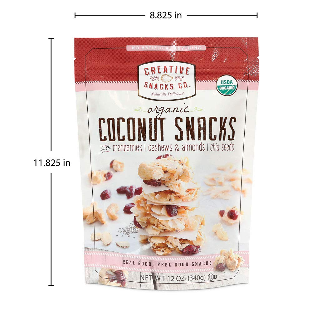 Creative Snacks Naturally Delicious Organic Coconut Snacks with Cranberries and Nuts, 2 Pack, 12 Ounce Resealable Bags by Creative Snacks (Image #6)